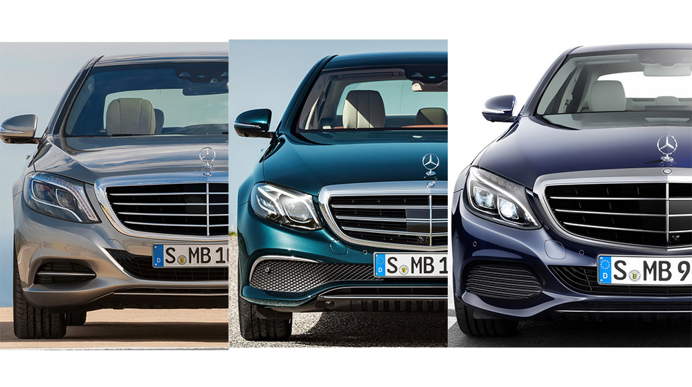 So sánh trực quan Mercedes C-Class, E-Class và S-Class